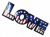 """Love Applique Sequin Patriotic Red White Blue Iron On Craft Patch 9.25"""" GB703-pat"""