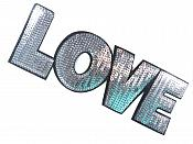 "Love Applique Sequin Silver Iron On Craft Patch 9.25"" GB703-sl"