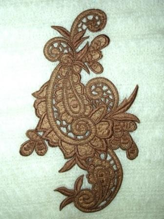 E645  Copper Brown Paisley Embroidered Iron On Applique 9.5""