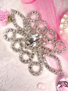 RMTS21 REDUCED Silver Crystal Clear Rhinestone Applique Embellishment 6""