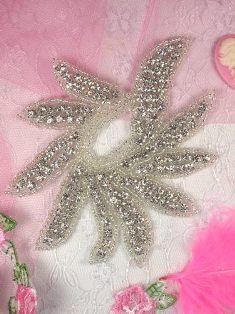 RMTS5 REDUCED Crystal Clear Silver Beaded Rhinestone Applique 4.75""