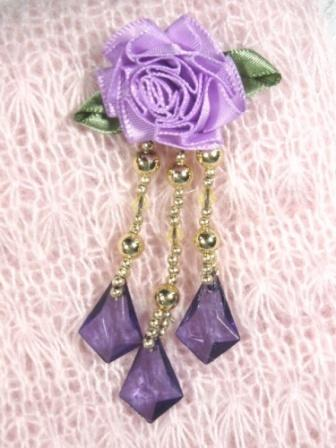 VD16  Lavender Purple Floral Dangle Beaded Applique 3""