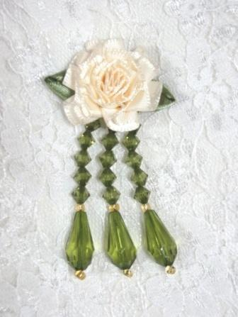 VD1 Ivory & Olive Floral Dangle Beaded Applique 2.75""