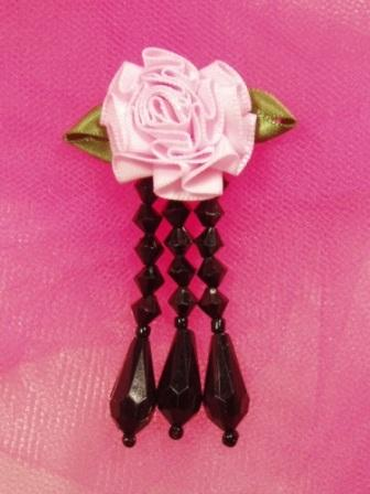 VD1  Pink Black Floral Dangle Beaded Applique 3""