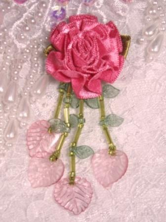VD17 Mauve Flower Dangle Beaded Applique 3""