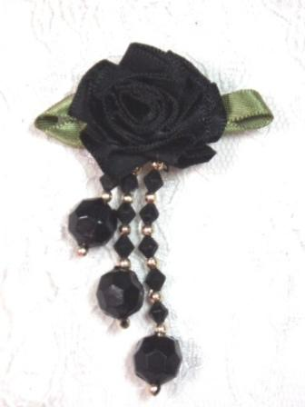 VD20  Black Floral Dangle Beaded Applique 2.5""