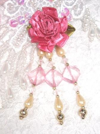 VD23  Mauve Pink Floral Dangle Beaded Applique 3.5""