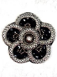 "XR3 Black & Silver Flower Sequin Beaded Hair Bow / Brooch / Applique 2.25"""
