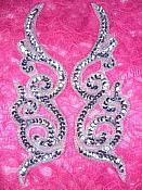 "Silver Scroll Sequin Appliques Dance Costume Designer Patch 7"" XR381X"