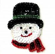 Snowman Face Sequin Christmas Decoration Beaded Iron On Patch diy Stocking XR385