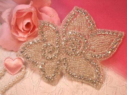 """XR46  Floral Crystal Beaded Rhinestone Applique 4"""""""