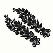 """Black Mirror Pair Lace Appliques Embroidered Motifs 10.5"""" (Y10)"""