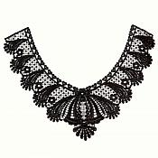 "Bodice Applique Embroidered Yoke Collar Neckline Lace Motif Black 10.5"" (Y4)"