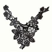 "Bodice Applique Embroidered Yoke Collar Neckline Lace Motif Black 13"" (Y9)"