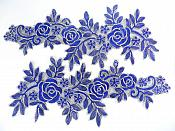 """Floral Embroidered Appliques Blue Gold Dance Costume Mirror Pairs 15.75"""" GB680X"""